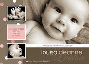 Girl Birth Announcements - Louisa Deanne -  Birth Announcements for Girls