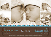 Border in Blue - Twin Birth Announcements