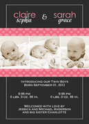Twin Baby Announcements - Polka Pink Twin Birth Announcements