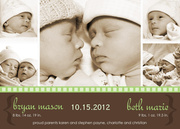 Twin Birth Announcements - Border in Green