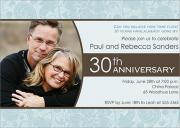 Blue Floral - Wedding Anniversary Invitations