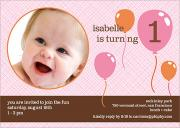 Four Balloons Photo Birthday Invitations