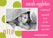 Photo Birthday Invitations - Green Polkas and Hot Pink