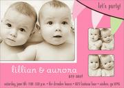 Twin Birthday Invitations - Party Flags