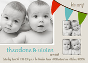 Party Flags - Twin Birthday Invitations
