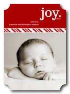 Baby Christmas Cards - Striped Ribbon
