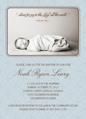 Baptisms & Christening Invitations, Blue Mosaic Design