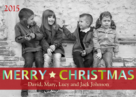 Personalized Holiday Cards, Multi Merry Design