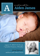 Swiss Print Blue -  Birth Announcements for Boys
