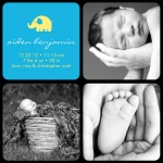 Boy Photo Birth Announcements - Baby Elephant Blue
