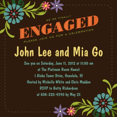 Engagement Party Invitations, Party Petals Brown Design