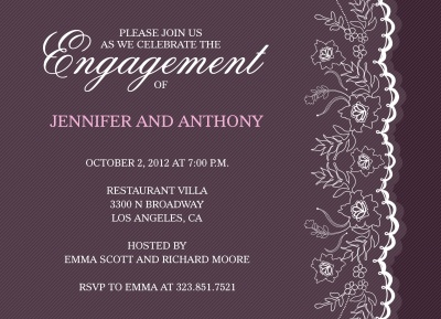 Engagement Party Invitations, Wedding Veil Design