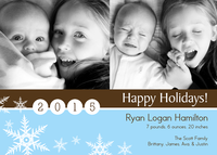Holiday Photo Birth Announcements - Snowflake Perfection