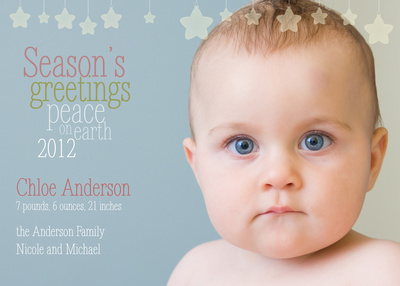 Birth Announcements, Peaceful Stars Design
