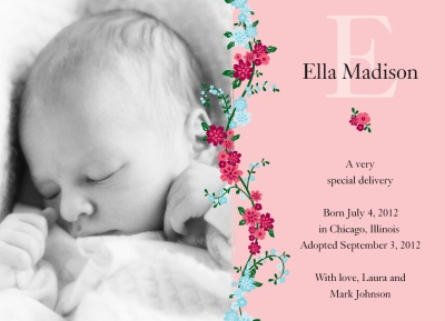 Birth Announcements, Special Climbing Rose Design