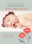 Infant Girl Birth Card - Pretty Poppies