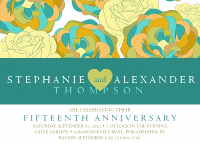 Wedding Anniversary Invitations, Floral Fantasy Design