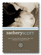 Super Silver Initial -  Adoption Birth Announcements