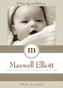 Sweet Silver Presentation -  Adoption Birth Announcements