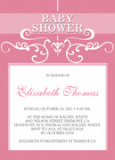 Chandelier Classic Pink - Baby Shower Invitations