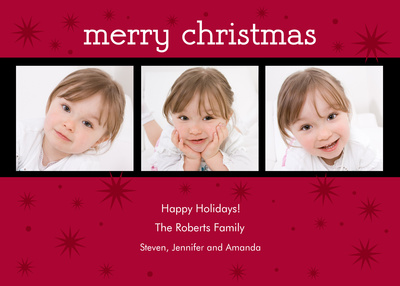 Personalized Holiday Cards, Ruby Stars Design