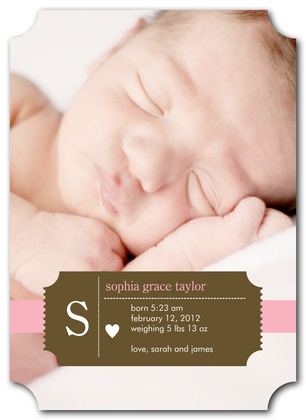 Birth Announcements, Pink Cupid Design