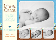 Love Frame Blue - Baby Boy Announcements