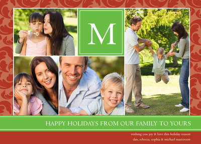 Personalized Holiday Cards, Strawberry Mint Design