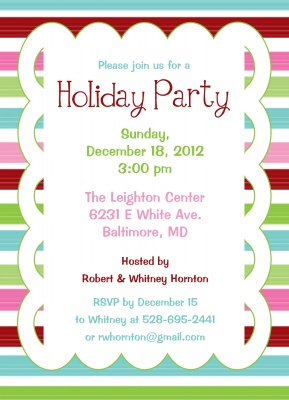 Holiday Party Invitations, Sweet Stripe Party Design