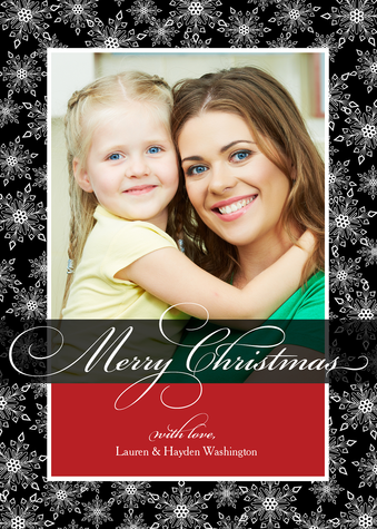 Personalized Holiday Cards, Lace Flake Design