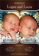 Twin Birth Announcements - Beautiful Bronze
