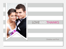 Ribbon Stripe Thanks -  Marriage Announcements
