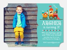 Birthday Invitations for Boys - All Aboard