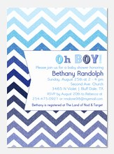 Blue ZigZags -  Baby Shower Invites