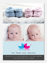 Twin Birth Announcements - Double Buggies