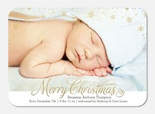 Golden Snowflakes - Holiday Birth Announcements