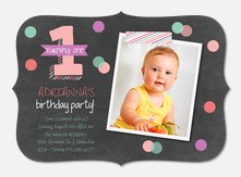Confetti One - Girl Birthday Invitations