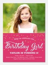 Girl Birthday Party Invitations - Confetti Sparkle