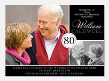 80th Birthday Invitations -  Adult Birthday Party Invitations