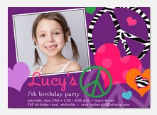 Zebra Peace - Girl Birthday Invitations